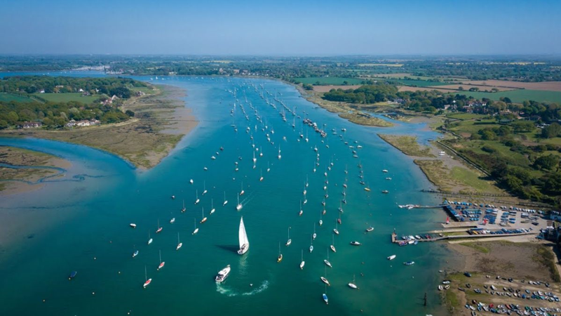 Aerial view of Chichester Harbour