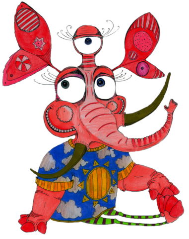 A red cartoon character resembling an elephant with two thin legs, three eyes, brown tusks and ears on stalks. It is wearing a blue t-shirt and green and red striped leggings.